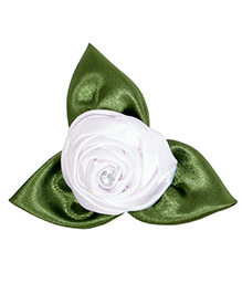 Miss Diva Rose With Leaves Brooch - White