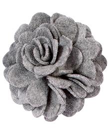 Miss Diva Elegant Polar Fleece Flower Brooch - Grey