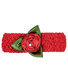 Miss Diva Leafy Flower Soft Headband - Red