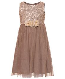 Miyo Shimmer Party Wear Dress - Brown