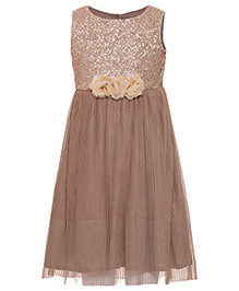Miyo Shimmer Party Wear Dress - Brown