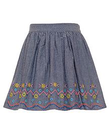 Miyo Cotton Skirt  - Grey & Blue