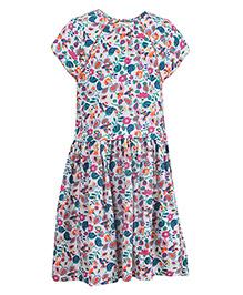 Miyo Short Sleeve Printed Dress - Multicolor