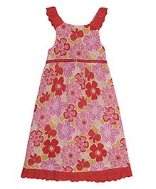 Miyo Floral Print Cotton Dress - Red & Pink