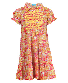Miyo Attractive Floral Print Cotton Dress - Red & Yellow