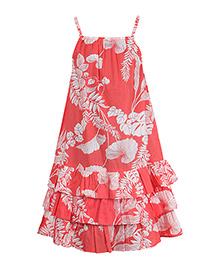 Miyo Unique Floral Print Cotton Dress - Orange & White