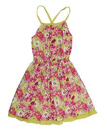 Miyo Gorgeous Floral Print Cotton Dress - Multicolour
