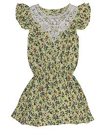 Miyo Exquisite Floral Print Cotton Dress - Light Green & Multicolour