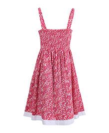 Miyo Stylish Flowery Print Cotton Dress - Pink