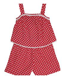 Miyo Polka Dot Print Jumpsuit - Red