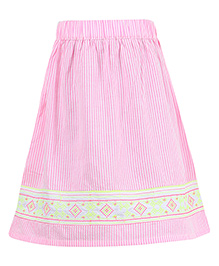 Miyo Striped Print Cotton & Polyester Skirt - Pink