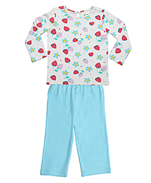 Orgaknit Strawberry Print Organic Cotton Top & Pant - Blue & Off White