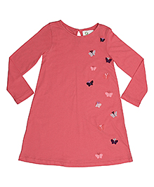 Orgaknit Butterfly Detailing Organic Cotton Dress - Pink