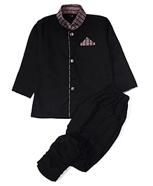U/P-(size-2/40cm)(Black)Lines Cotton Stylish Kurat & Pyjama