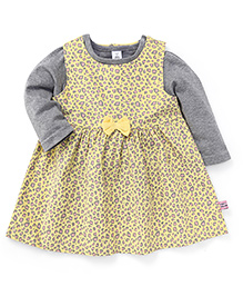 ToffyHouse Sleeveless Printed Frock With Inner Top Bow Applique - Yellow Grey