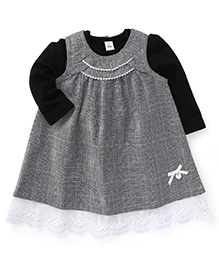 ToffyHouse Sleeveless Check Frock With Inner Top - Black Grey