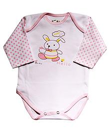 Kiwi Rabbit Print Full Sleeves Cotton Onesie - White & Pink