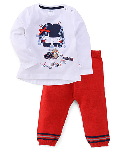 Simply Full Sleeves Printed Top And Leggings Set - White Red