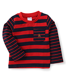 Simply Full Sleeves T-Shirt Stripes Print - Blue Red