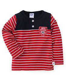 Simply Full Sleeves T-Shirt Stripes Print - Red And Blue