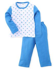 Simply Full Sleeves Top And Leggings Set Stars Print - White Sky Blue