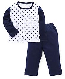 Simply Full Sleeves Top And Leggings Set Stars Print - White Blue
