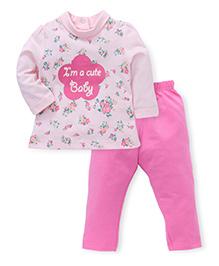 Simply Full Sleeves Top And Leggings Set Floral Print - Pink