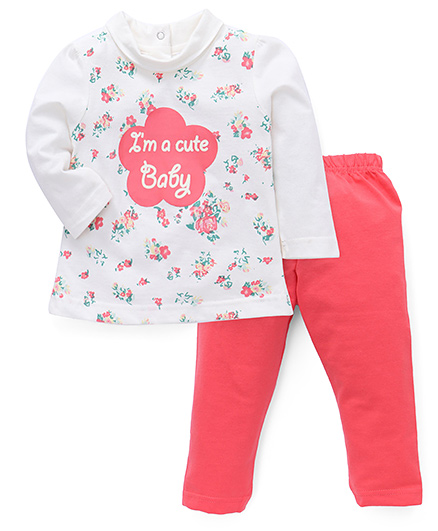 Simply Full Sleeves Top And Leggings Set Floral Print - White Pink