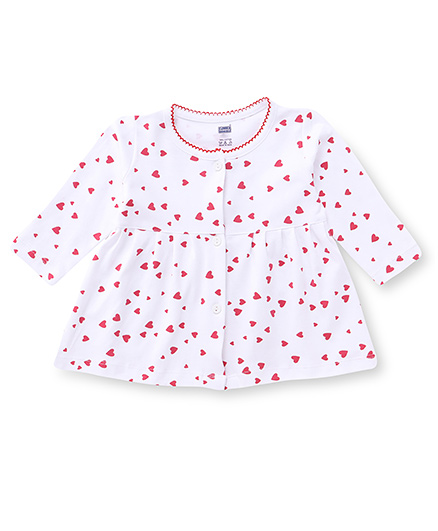 Simply Full Sleeves Frock Heart Print - White Red