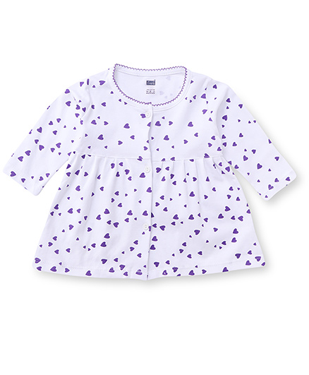 Simply Full Sleeves Frock Heart Print - White Purple