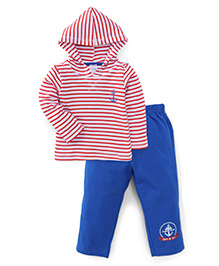 Simply Full Sleeves Hooded T-Shirt And Pants Set - Blue Red