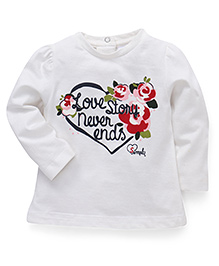 Simply Full Sleeves Top Love Story Print - White