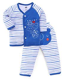 Simply Full Sleeves Vest And Leggings Set Teddy Print - Blue