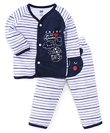 Simply Full Sleeves Vest And Leggings Set Teddy Print - Navy Blue