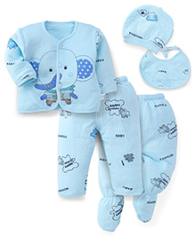 Superfie Elephant Print Multi Piece Set - Sky Blue
