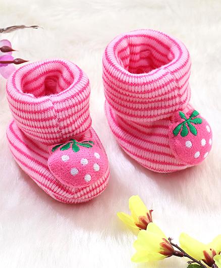 Superfie Strawberry Applique Booties - Pink