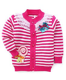 Superfie Fancy Lace Cardigan  - Pink