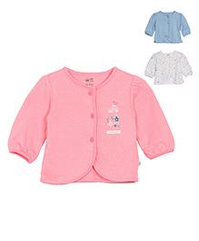 FS Mini Klub Full Sleeves Pack Of 3 Vests Printed - Pink White Blue
