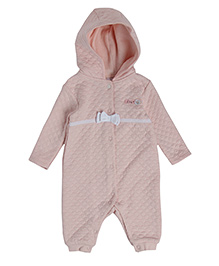 FS Mini Klub Full Sleeves Quilted Romper With Hood - Light Pink