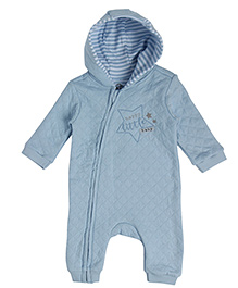 FS Mini Klub Full Sleeves Quilted Romper With Hood - Light Blue