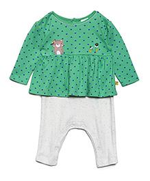 FS Mini Klub Full Sleeves Frock Style Romper Printed - Green Grey