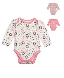 FS Mini Klub Full Sleeves Onesies Pack Of 3 Printed - Pink White Peach