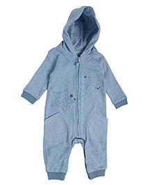 FS Mini Klub Full Sleeves Hooded Romper Star Print - Blue