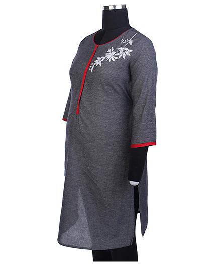 Kriti Three Fourth Sleeves Maternity Kurta - Grey