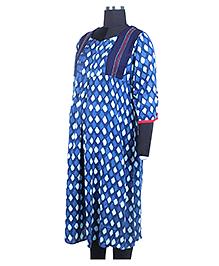 Kriti Ethnic Maternity Three Fourth Sleeves Printed Kurta - Blue