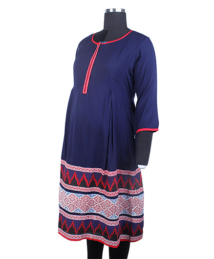 Kriti Ethnic Maternity Three Fourth Sleeves Printed Kurta - Blue