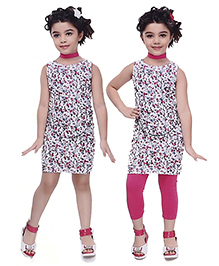 N - XT Sleeveless Printed Frock And Leggings - White & Pink