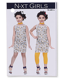 N - XT Sleeveless Printed Frock And Leggings - White & Yellow