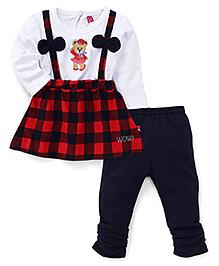 Wow Girl Full Sleeves Top And Leggings Set - Red Navy White