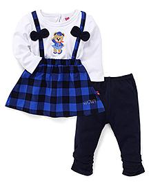 Wow Girl Full Sleeves Top And Leggings Set - Blue Navy White